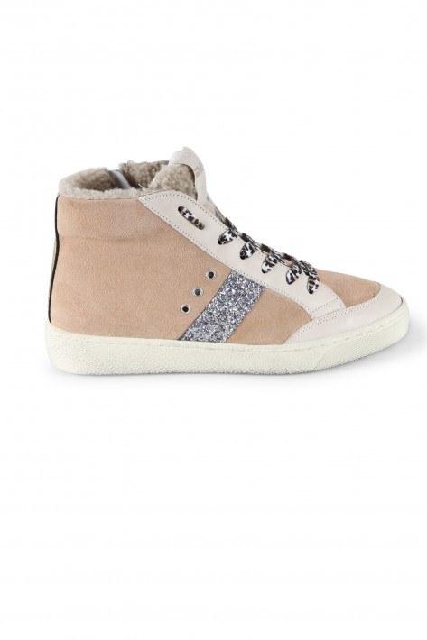 Meline Sneaker Fashion Carne Glitter - nude