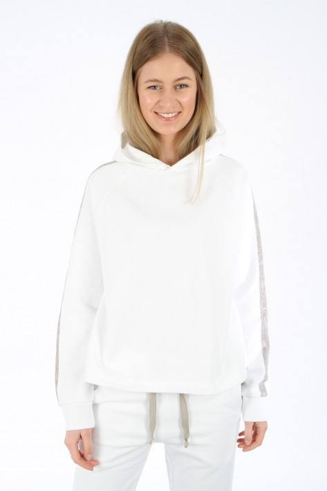 Juvia Fleece Hoodie with Stripe - white