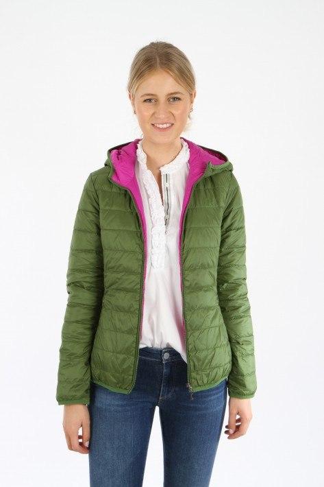 Oui Wende-Steppjacke - green/pink