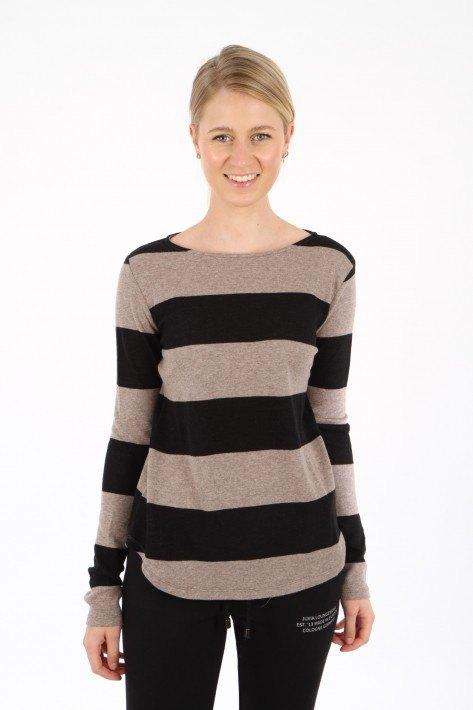 Juvia Cash. Mix Sweater Stripe - black/taupe mel.