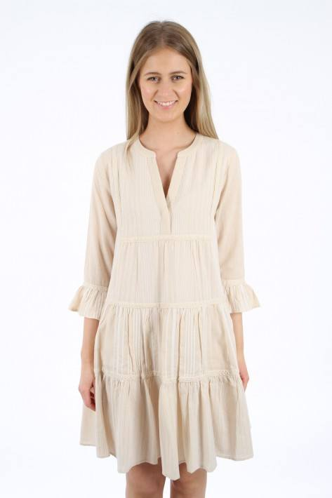 Flower for friends Tunic Patch Dress - beige/white
