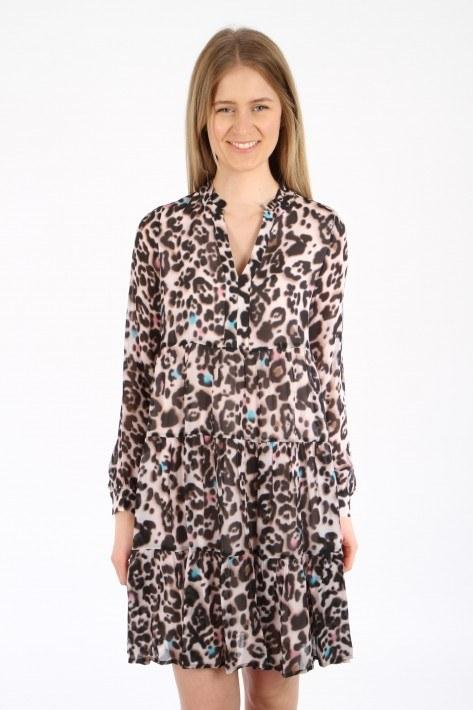 Bloom Leo Print Dress - sand leo
