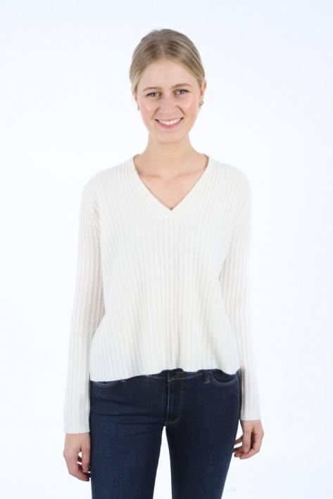 Hemisphere Pullover V-Neck - white