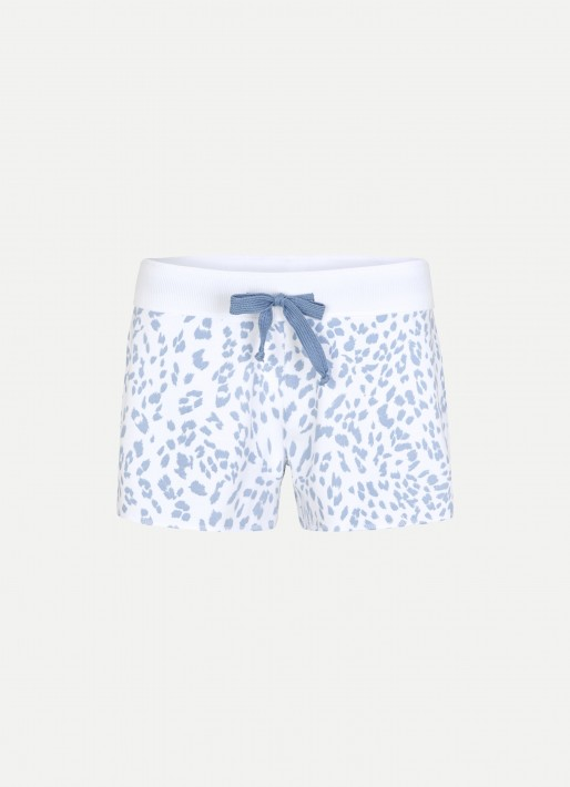 Juvia Fleece Shorts Leopard - white/lightblue