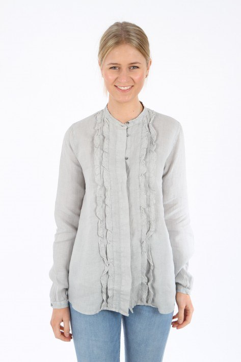 0039 Italy Leinenbluse Nelly Fancy - light grey