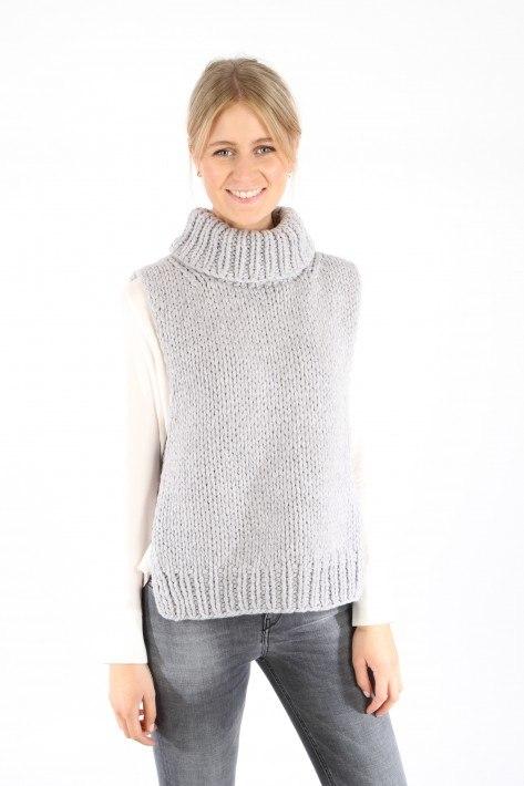 Ilona von Preuschen Handstrick-Slipover Polly - fog grey