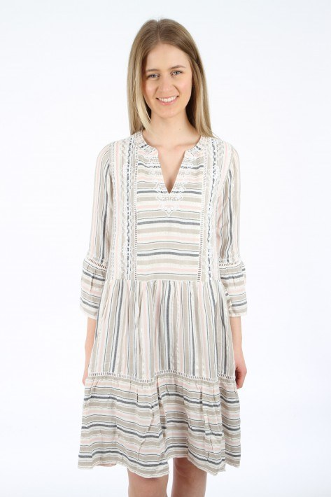 Bloom Kleid Streifen - beige/rose/black