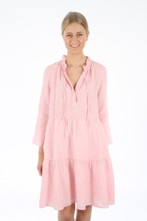 0039 Italy Milly Dress Leinen - rosa