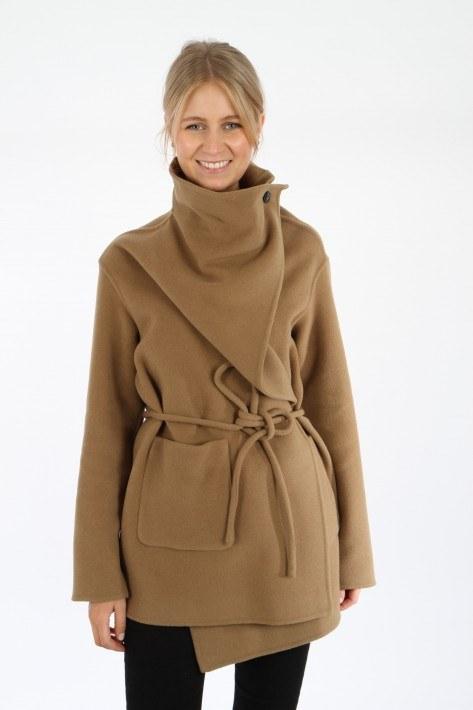 Closed Wrap Coat - dark tan