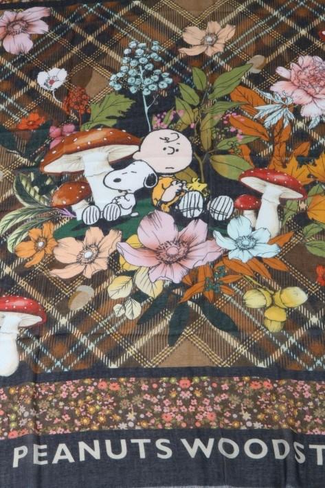Codello Peanuts Patchwork-Schal Woodstock - brown