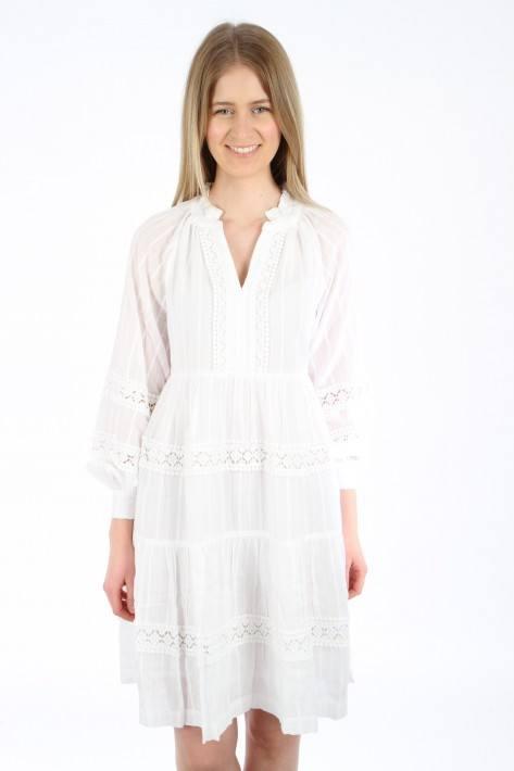 Bloom Tunika Volants-Kleid - white