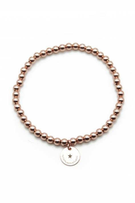Schmückstück Armband Perlen Sterlingsilber 4mm rosévergoldet