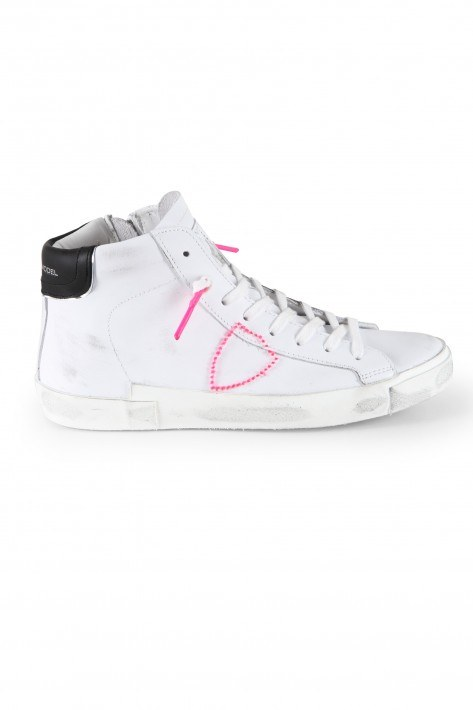 Philippe Model Sneaker High W Broderie Neon Blanc