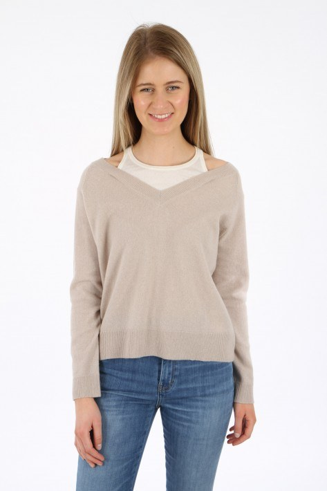 Rosa & me Cashmere-Pulli two-in-one Alex - dune/offwhite