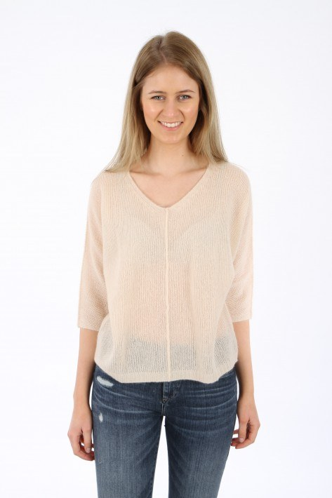 Hemisphere Cashmere V-Neck Special Knit - irish cream