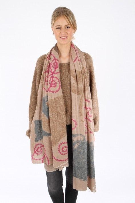 Hemisphere Cashmere-Schal EDANCERKNIT - beige/pink/camel