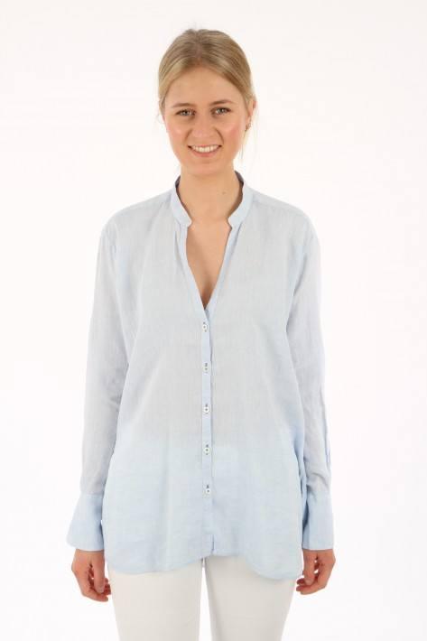 Aglini Leinenbluse Liviana - lightblue