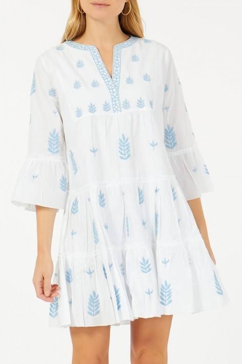Flower for friends Embroidered Dress - white/lightblue
